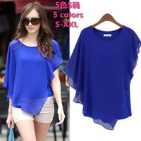Cheap 2008 free shipping Summer Europe Style Design Chiffon Woman Blouses Bat Sleeves Round Neck Chiffon T Shirt Tops Sexy Elegant S-XXL 5 colors