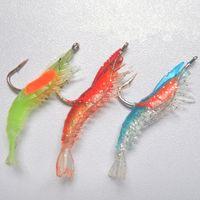 Wholesale cm g Artificial Fishing Lure Sea Bionic Shrimp Prawn Soft Bait Fishing Tackle Noctilucent Luminous Lifelike with Hook