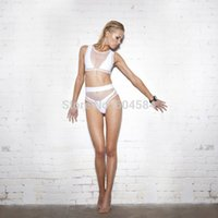 Cheap 2014 Women's Sexy Hollow Out White Bikini Mesh fabric Bikini Steel bracket Gathered Chest Swimsuit girl Swimwear
