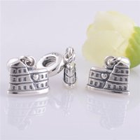 Wholesale LW132 women gift Sterling Silver Colosseum Thread Dangle Bead Fits for Chamilia European panodra Charm Style Bracelet