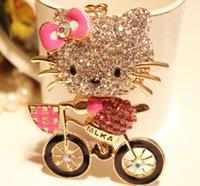 rhinestone keychain - hello kitty keychains with cycle kitty keychain Alloy with Rhinestones hello kitty decals kitty keychains bag pandent hello kitty pendants
