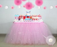 baby shower - Custom Tulle Table Skirt Tutu Table Decoration for Weddings Imitation Pearls Birthdays Baby Bridal Showers Parties Tutu Party Decor