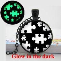 autism awareness necklace - GL Glow in the dark Necklace Autism Black and White Puzzle Autism Awareness Jewelry autism puzzle necklace glowing jewelry