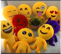 Wholesale 10 Styles Length cm Cushion Cute Lovely Emoji Smiley Pillows Cartoon Cushion Pillows Yellow Round emoji doll Stuffed Plush Toy