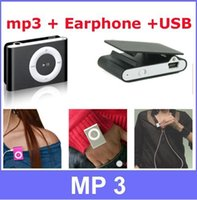 Cheap 10 Sets lot Hot Sale Mini Metal Clip Sport MP3 Music Player+ Earphone +mini USB Cable