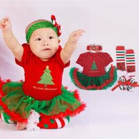 thanksgiving - Retail Christmas dress set baby girls clothes christmas costumes infant jumpersuit socks band shoes Newborn Suits