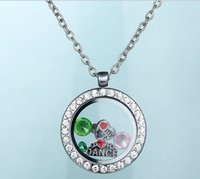 Cheap RoundFloating Locket Pendant Living Memory Glass CZ Crystal Paved Round Circle Pendant Charms Necklace DIY Jewelry Valentine,s day gift FL07