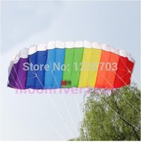 beach unit - Power Dual Line Stunt Parafoil Parachute Rainbow Sports Beach Kite For Beginner