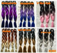 Wholesale 24inch100grams pack Black Grey Pink Brown Blond Ombre Two Tone Coloured Kanekalon Jumbo Box Braiding Hair j291