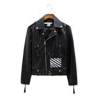 Wholesale Fall Top Quality Off White pu leather motocycle bomber jacket kanye west Exo off white c o abloh virgil leather jacket
