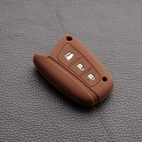 hyundai ix45 - Brwon silicone colour car key case cover set for hyundai solaris ix35 ix45 accent elantra santa fe accessories buttons