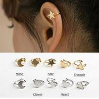 Cheap Brand Charm Mix 10styles Gold & Silver Ear cuff Heart Star Moon Clip Earrings Brincos Femininos Wholesale Womens Jewelry Accessories 7EC002