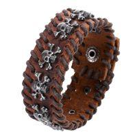 button skull - 2015 Fashion Men Charms Bracelets Retro Handmade Double row Weave Metal Skull Decorative Snap Button Design Leather bracelets Punk Bracelet