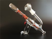 gun water pipe - Two functions Red amazing Gun shape Glass oil rigs glass bongs with slitted cut perc glass water pipes with mm joint size
