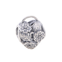 bulk charms - 10pcs bulk sale silver Floral Heart Padlock Openwork charms beads fit European Bracelets for pandora style jewelry set No50 LW402