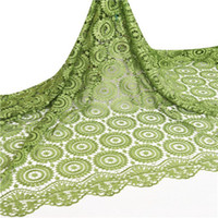 french lace - High quality african lace fabric green circle design guipure chemical lace french lace for sale with