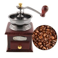 Wholesale New Classic Antique Wood Metal Manual Kitchens Coffee Bean Grinder Practical Coffee Mill Drawer Home Decoration