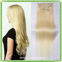 virgin brazilian hair clip in - Vogue Blonde Brazilian Clip In Hair Extensions Platinum Blond Silky Straight Clip in Human Hair Weaves A Brazilian Virgin Hair Clip Ins