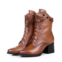 large womens shoes - Large size fashion work women ankle boots genuine leather woman winter shoes winter casual womens motorcycle boots outdoor shoes