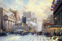 One Panel avenues hand painted - Oil painting by Thomas Kinkade New York Snow on Seventh Avenue Canvas Art Reproduction High quality Hand painted