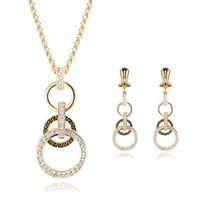 amazon diamond earrings - Amazon Premium Zircon Jewelry Europe Brand Fashion Accessories K Gold Plated Jewelry Necklace Earrings Set