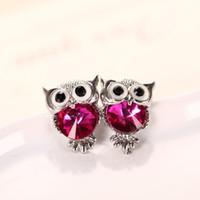earings - Owl Cat Stud Earring Girls alloy Austrian Crystal Kitten Earings Christmas Gift Jewelry