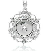 alloy brass - NOOSA silver hollow out rhinestone pendant for necklaces DIY noosa ginger snap interchangeable snap jewelry accessories hot