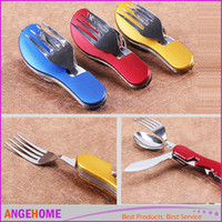 Wholesale 3 color folding outdoor tableware multifunctional camping knife spoon fork hiking tableware for picnic survival tools white box packing