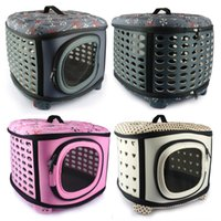 Wholesale Foldable Small Dog Carrier Bag Breathable Pet Travel Crate EVA Cat House Flower Or Dot Printing