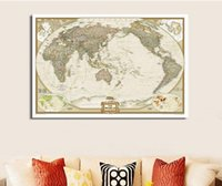Cheap Hot Sale!! Vintage English World Map Painting On COTTON Canvas Wall Art Map Prints Poster Home Decoration For Living Room WM001