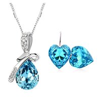 Earrings & Necklace austrian crystal jewelry - Top fashion high quality silver plated Austrian crystal teardrop pendant necklace and heart earrings jewelry women jewelr sets z128