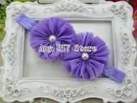 ba baby - xayakids COLORS Double quot Chiffon Shabby Flowers with pearl baby headbands TOP baby elastic headbands Hair Accessories hair ba