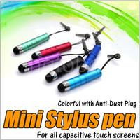 Wholesale Stylus Pen Touch Screen Pen Mini Short Capacitive Stylus Pen Touch Screen With Anti Dust Plug For ipad Mini iphone Samsung Galaxy Tablet PC