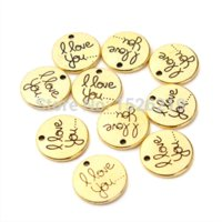 antique gold jewellery findings - 20pcs Antique Gold Round Charms I Love You Charms jewellery pendant Diy Finding F2051 pendant cabochon