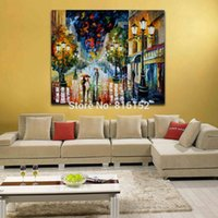 bedroom color palettes - 100 Hand painted Canvas Painting Rainy Night Walk Through Street Color Palette Picture for Living Room Bedroom Wall Decor
