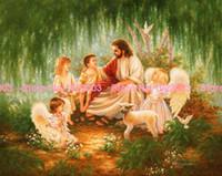 angels chat - New Needlework Diy Diamond painting sticker square drill full rhinestone Jesus with angel chat AD309
