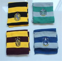Wholesale 200pcs hot sale best price Warm Stripe Scarves Cosplay Costume Gift Harry Potter Scarf Scarves Gryffindor Hufflepuff Slytherin Scarves D350
