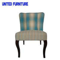 Wholesale Simple Appearance and Dining Room Furniture Type Blue checked fabric chair