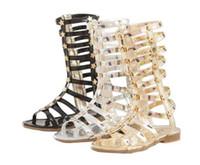 Wholesale fashion Infant Toddler Kid Children Fashion Gladiator Sandals Black Silver Golden Baby Girl Summer Boots Years Sapatos Infantil