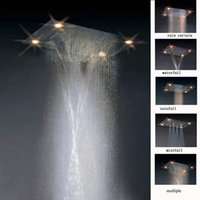 Wholesale 600 mm embeded ceiling mounted mistfall led shower head electric power led light shower head