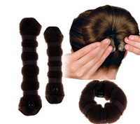 Cluster Rings hair sponge - 2015 Best Sales Sponge Hair Styling Donut Bun Maker Former Twister Ring Shaper Styler Tool CX116 as a Set in Bags