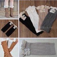 boot socks - 4 colors Women Crochet Button Down Boot Cuffs lace Button Braid Knit Leg Warmers Boot Socks Knee SHORT Socks LJJA1571 pair