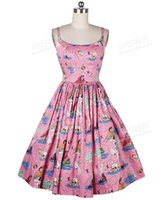 big size dresses women - Summer Women Vintage s Rockabilly Pinup Pink Mermaid Print Spaghetti Strap Puff Swing Knee Length Dress Big Plus Size Sundress