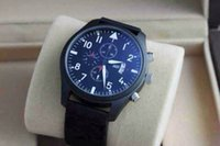 Wholesale NEW ARRIVAL IC Pilot Black Dial Chronograph Automatic Mens Watch