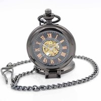 Wholesale Black Clock Pocket Watch New Design Luxury Brand Fashion Watches Hand Wind Up Crystals Mechanical Pocket Watch With Chain