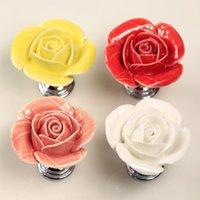 kitchen cabinet hardware - Rose drawer knob Flower ceramic knob for cupboard Kitchen cabinet hardware knob red yellow white Pink