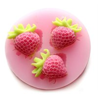 Wholesale Strawberries Soap Molds - Small strawberry Silicone Fondant Cake Molds Soap Chocolate Mould Hot Selling