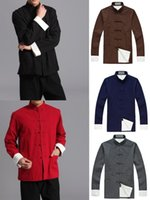 Wholesale colors male cotton wing chun martial arts men tang suits kung fu clothes tai chi jacketcoat black red blue gray coffee
