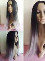 Wholesale Hot pc Synthetic Ombre Wig Ombre Tone Color Black Grey Silk Straight Gray Synthetic Wig cm long straight hair