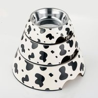 melamine dog bowl - Pet Food Bowl Cow style Pattern Melamine Stainless Steel Dog Bowls High Quality Personalised Dog Bowls Three Size BL002